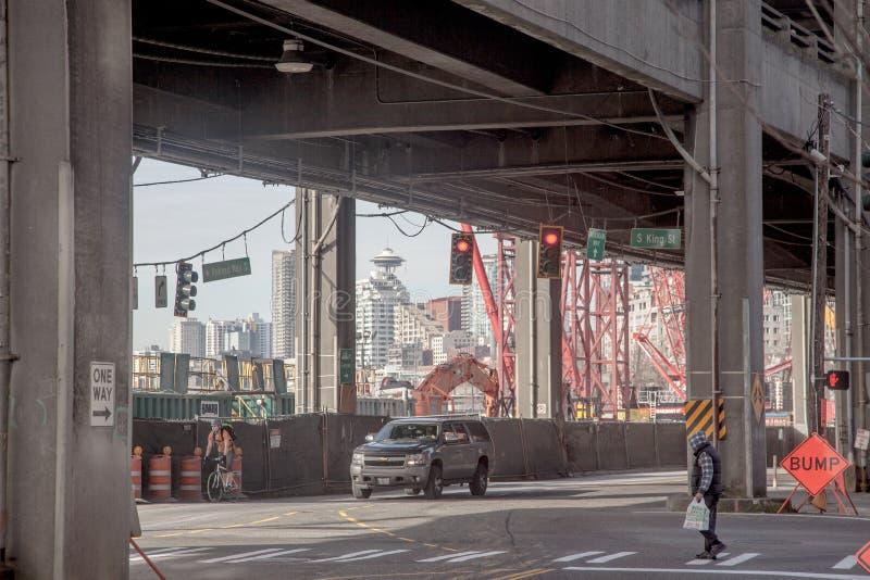 De bouwfebruari 2015, Koning Street van de waterkant van Seattle stock foto
