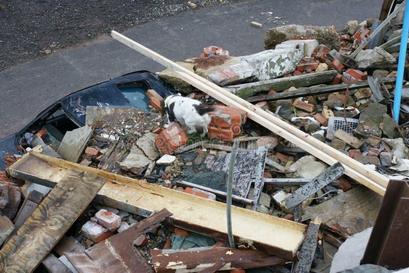 De bouwinstorting, rampenstreek royalty-vrije stock afbeelding