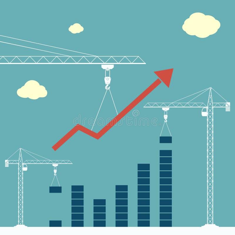 De bouwkranen bouwen een het groeien financiële grafiek Succes en winst in zaken vector illustratie