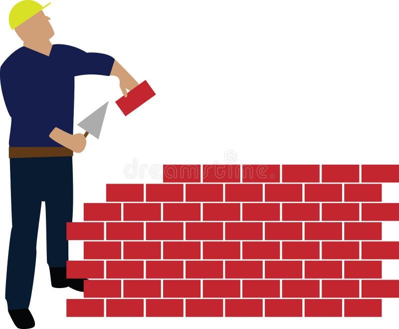 De bouwmuur van de arbeider stock illustratie