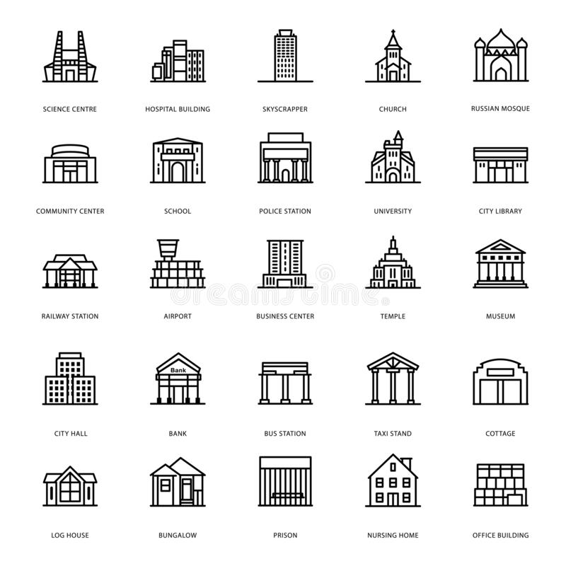 De bouwpictogrammen van de Architectuurlijn vector illustratie