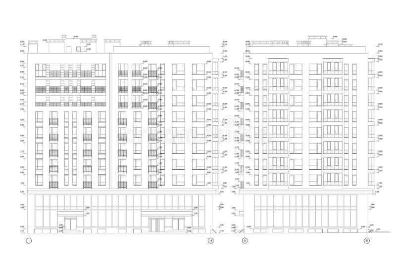 De bouwsectie met meerdere verdiepingen, gedetailleerde architecturale technische tekening, vectorblauwdruk royalty-vrije illustratie