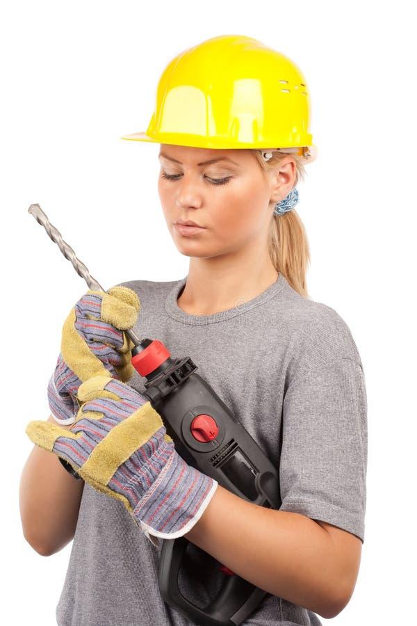 De bouwvakker van de dame stock afbeelding