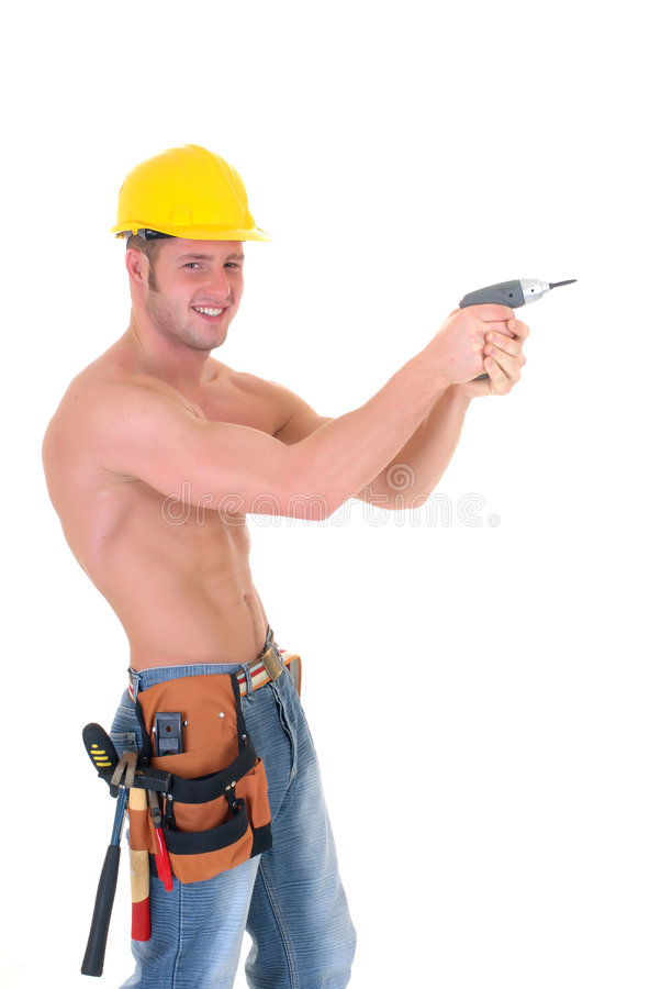 De bouwvakker van de macho royalty-vrije stock afbeeldingen