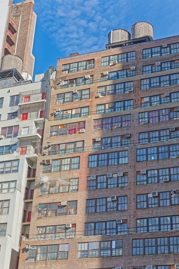 De bouwvoorgevel van New York op Zevende Weg stock fotografie