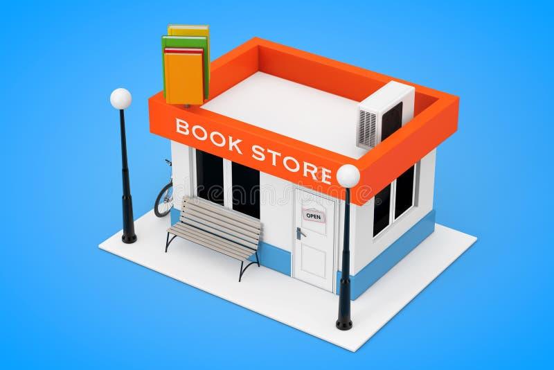 De Bouwvoorgevel van Toy Cartoon Book Shop of van de Boekhandel 3D renderin royalty-vrije illustratie