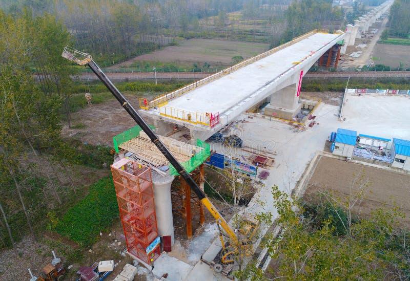 De bouwwerf van de de hoge snelheidsspoorweg van China stock afbeelding