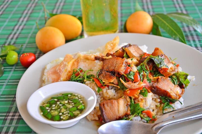 De bovenkant raakte Thais voedselmenu is knapperige varkensvleesbuik met basilicum op rijst stock foto's