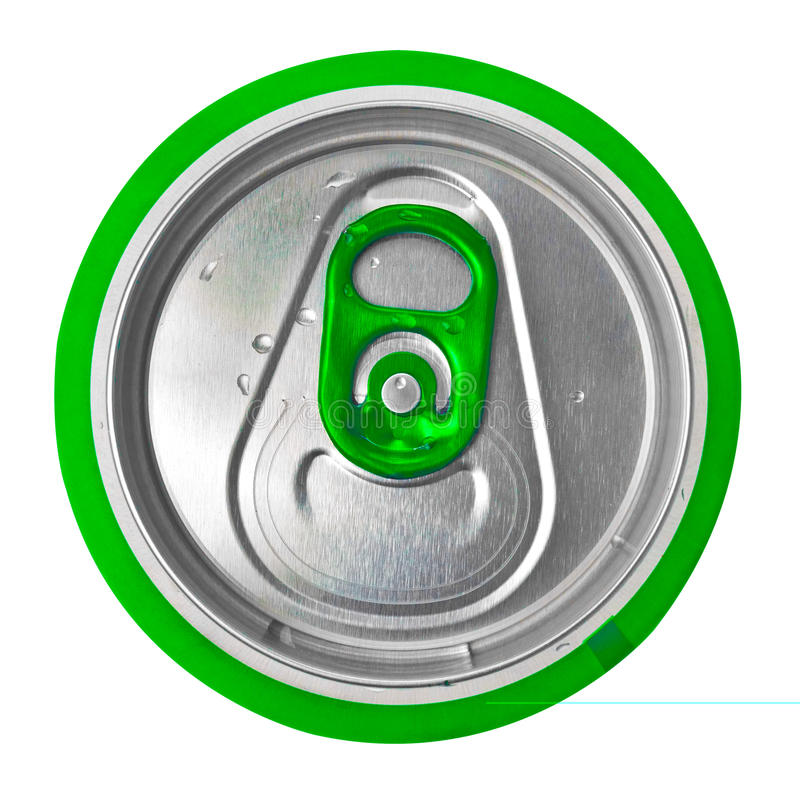 De bovenkant van een groen bier kan geïsoleerd op wit stock fotografie
