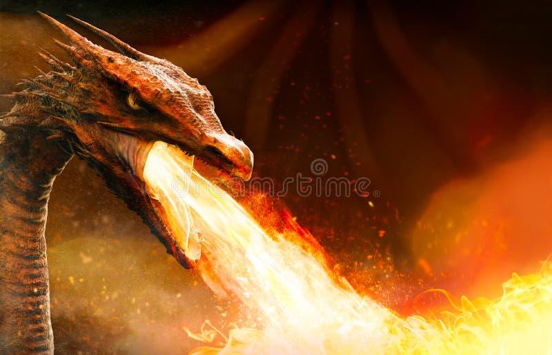 De boze brand van het draakspuwen