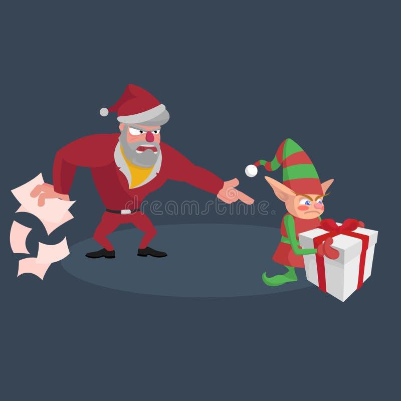 De boze Kerstman verspreidt de documenten en gilt bij het kleine elf met een gift vector illustratie