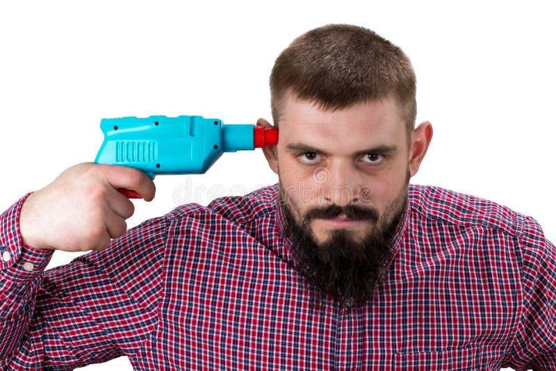 De boze mens met baard in overhemd kijkt uitgeput Bouwer, pleister stock foto's