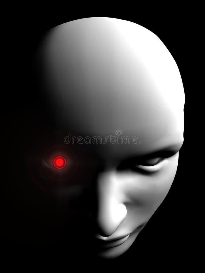 De boze menselijke persoon van het robotgezicht stock afbeelding