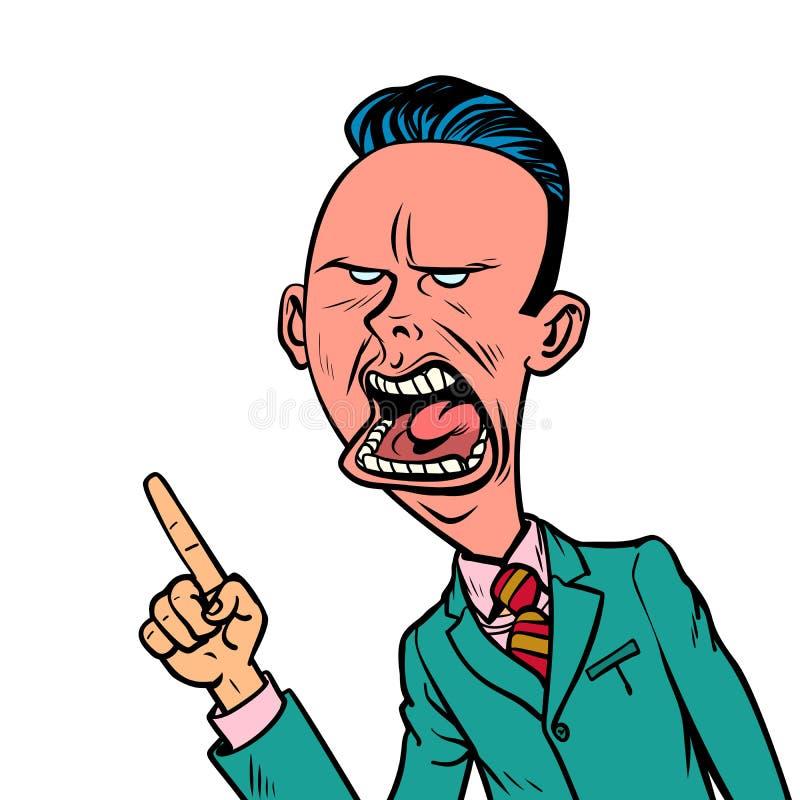 De boze sceptische zakenman richt vingergebaar royalty-vrije illustratie