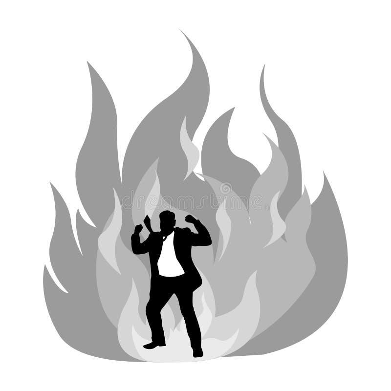 De boze silhouetzakenman op brand vectorillustratie isoleert stock illustratie