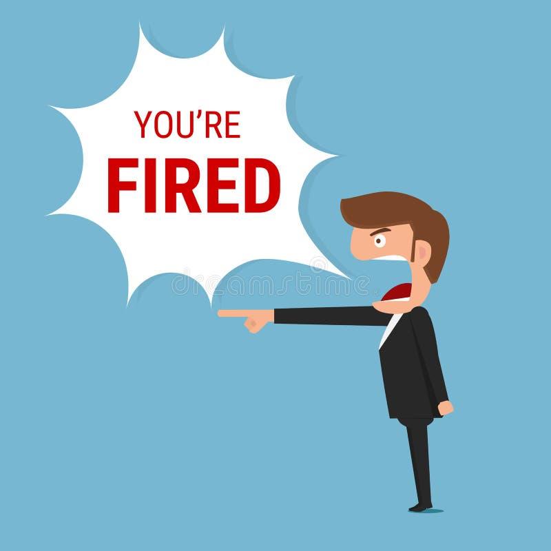 De boze werkgever die u is in brand gestoken woord zeggen stock illustratie