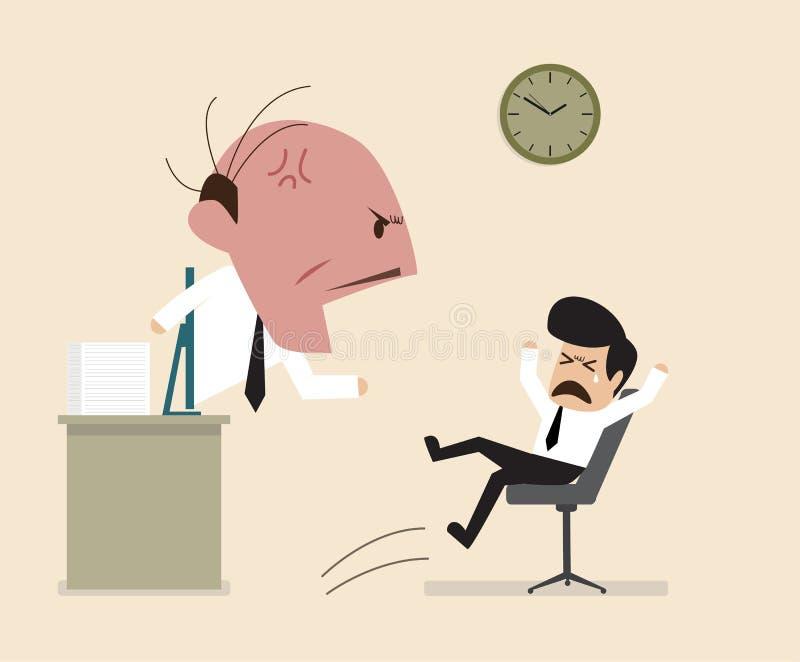 De boze Werkgever schreeuwt aan zijn werknemer via online verbinding royalty-vrije illustratie