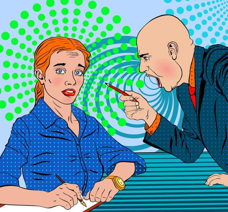De boze werkgever zweert op bang gemaakt ondergeschikt royalty-vrije stock afbeelding