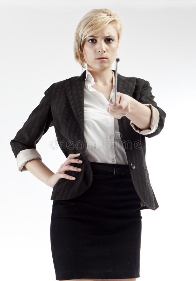 De boze wijzer van de leraarsholding stock fotografie