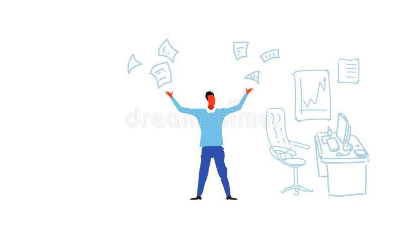 De boze zakenman die document documenten werpen beklemtoont probleemconcept overgewerkt bedrijfsmensen hardworking woedend karakt vector illustratie