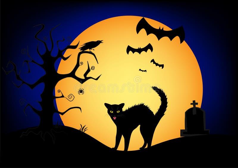 De boze zwarte kat van Halloween op de grote gele maan en de donkerblauwe hemelachtergrond vector illustratie