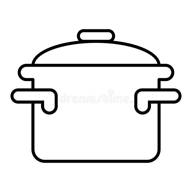 De braadpan met handvatten verdunt lijnpictogram Kokend pan vectordieillustratie op wit wordt geïsoleerd De stijlontwerp van het  vector illustratie