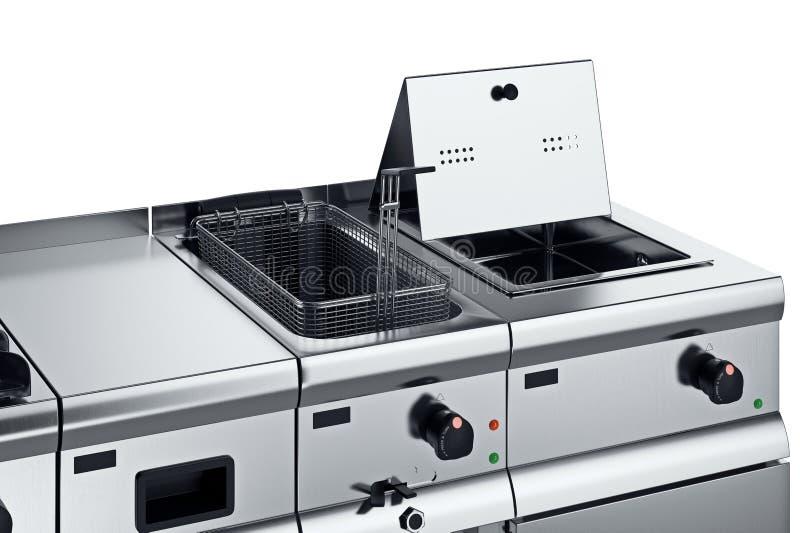 De braadpan van het keukenmateriaal, dichte mening stock illustratie