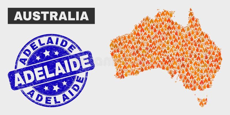 De in brand gestoken Kaart en Nood Adelaide Seal van Mozaïekaustralië royalty-vrije illustratie
