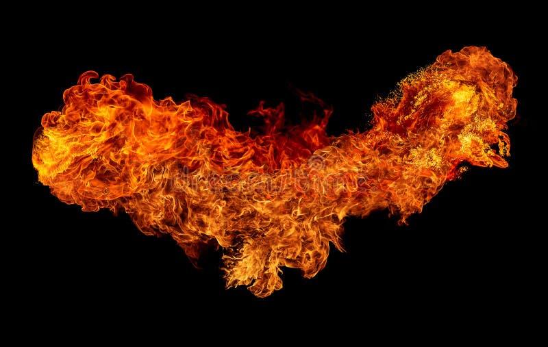De brand isoleerde zwarte achtergrond stock afbeelding