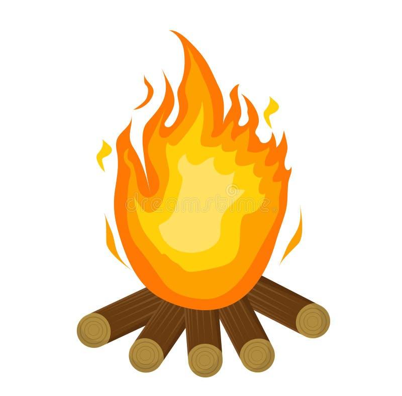 De brand van Festajunina vlak pictogram, beeldverhaalstijl Vuur op witte achtergrond wordt geïsoleerd die Vectorillustratie, klem royalty-vrije illustratie