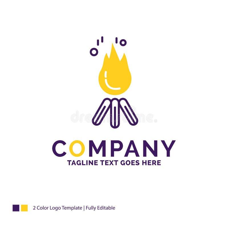 De brand van Firmanaamlogo design for, vlam, vuur, het kamperen, kamp royalty-vrije illustratie