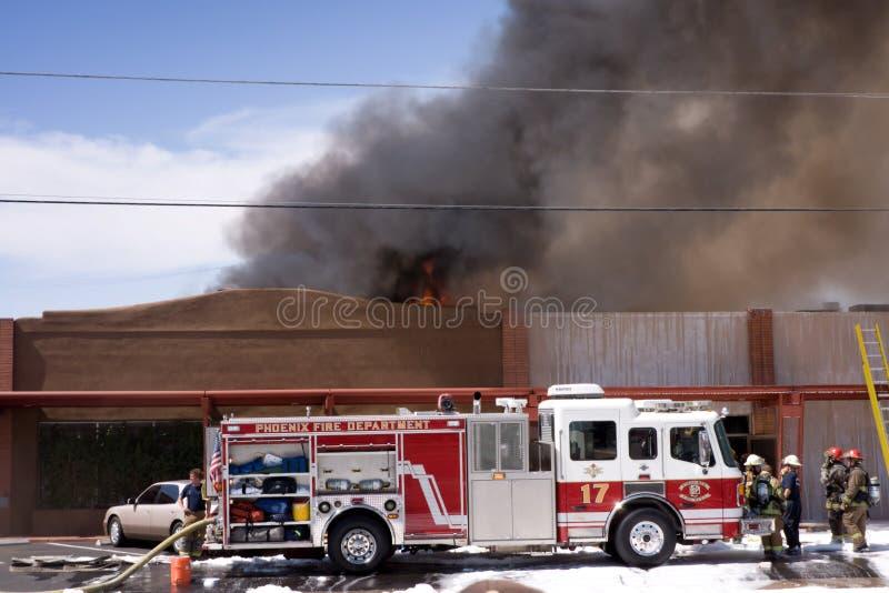 de brand van het 3 alarmRestaurant stock afbeelding