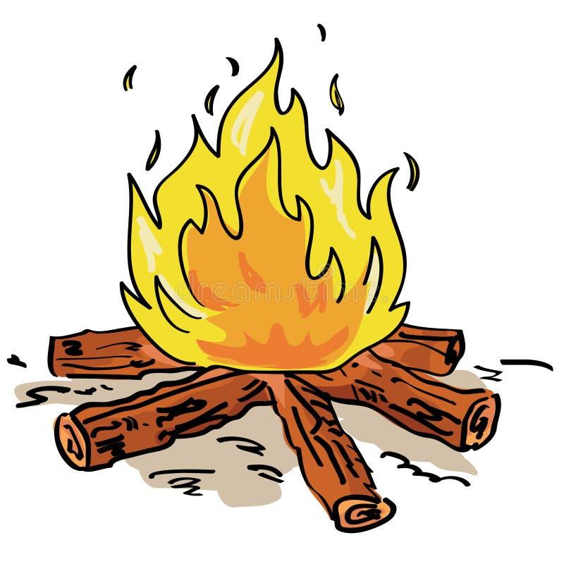 De brand van het kamp stock illustratie