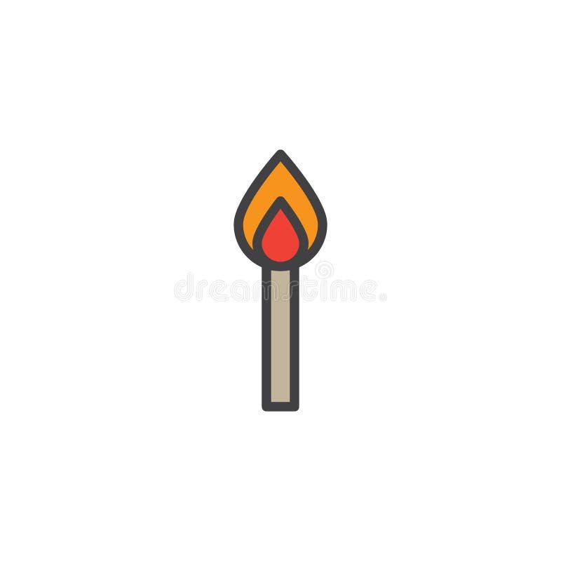 De brandende gelijke vulde overzichtspictogram stock illustratie
