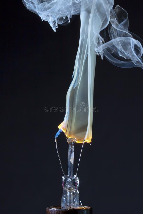 De brandende Gloeidraad van de Gloeilamp royalty-vrije stock fotografie