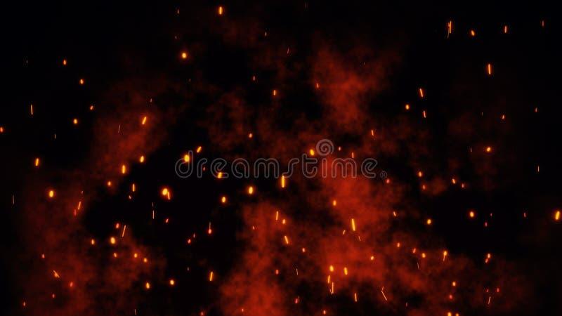 De brandende gloeiende roodgloeiende vonken, sintels vliegen van grote brand in de nachthemel royalty-vrije stock fotografie