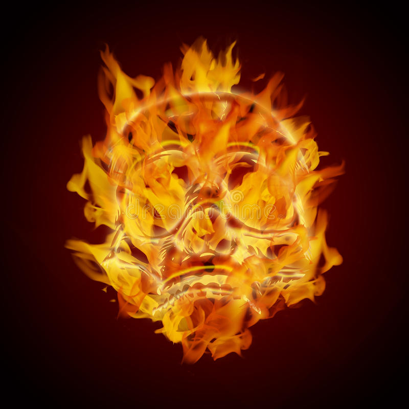 De Brandende Vlammende Schedel van de brand stock illustratie