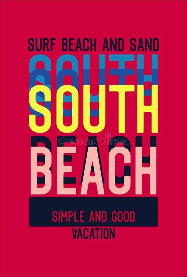 De brandingsstrand van het zuidenstrand en zand, de vector van het t-shirtontwerp royalty-vrije illustratie
