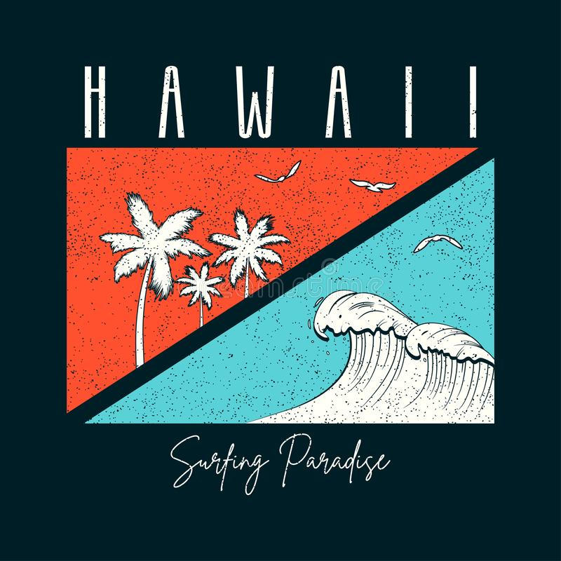 De brandingstypografie van Hawaï voor t-shirt met palmen en golf Hawaiiaanse slogan voor de druk van het T-stukoverhemd met grung vector illustratie