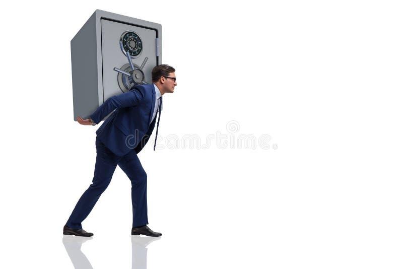 De brandkast van het zakenman stealing metaal van bank stock foto