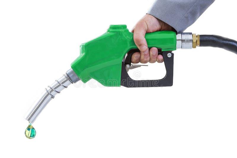 De brandstof van Eco Pijp, energieconcept, Daling van groene brandstof witte achtergrond stock afbeelding