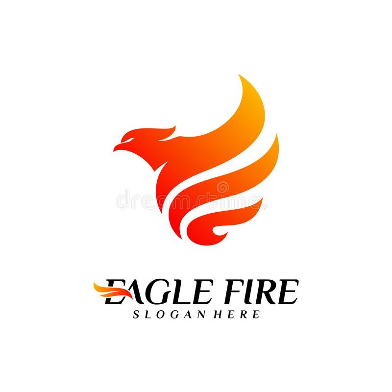 De Brandvogel Logo Design Concepts van Phoenix Duif Eagle Logo Template Vector Pictogramsymbool royalty-vrije illustratie