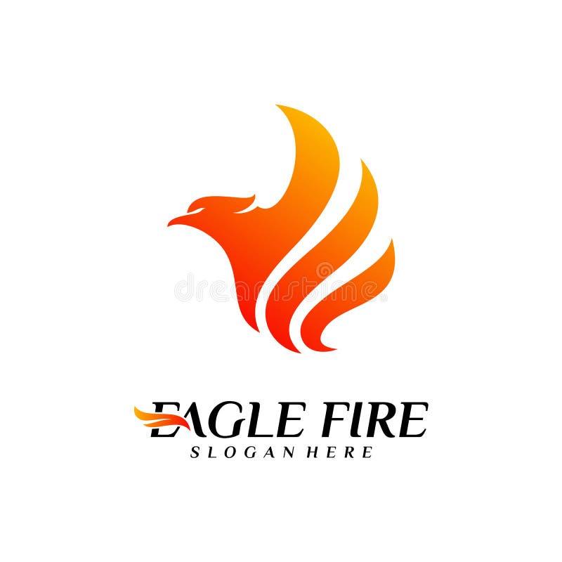 De Brandvogel Logo Design Concepts van Phoenix Duif Eagle Logo Template Vector Pictogramsymbool stock illustratie