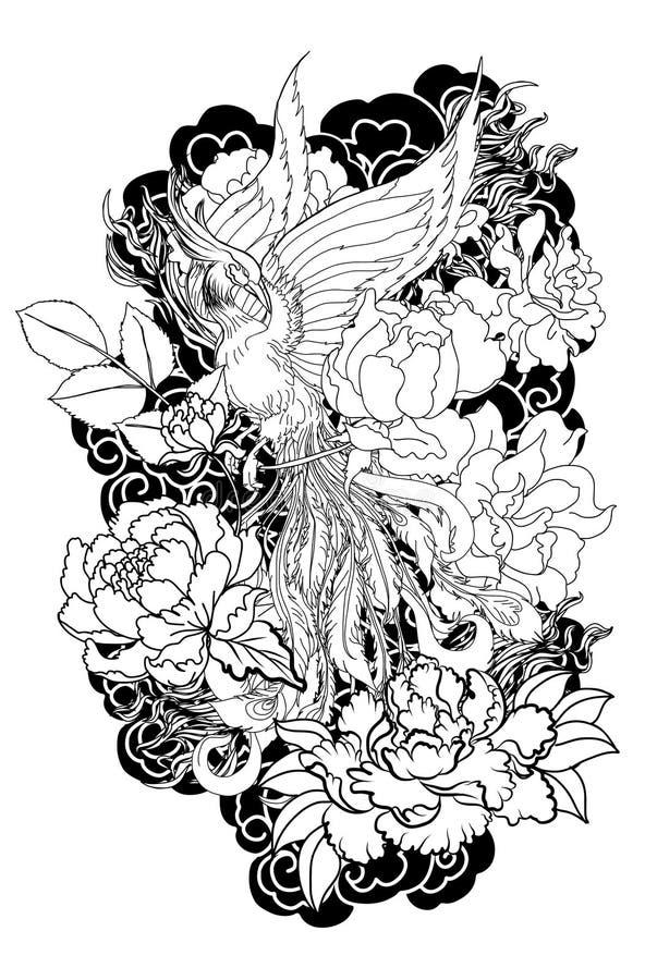 De de brandvogel van Phoenix met Pioenbloem en nam op wolk en golfachtergrond toe Hand getrokken Japanse tatoegeringsstijl Mooie  vector illustratie
