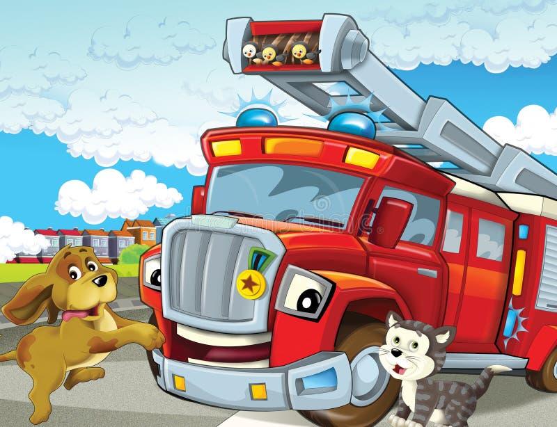 De brandvrachtwagen - illustratie voor de kinderen stock illustratie