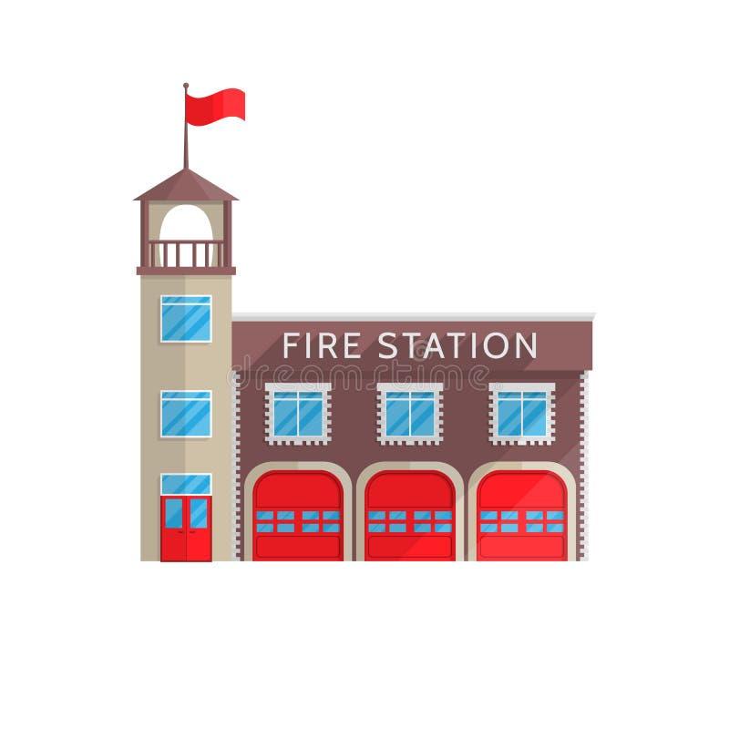 De brandweerkazernebouw in vlakke stijl op een witte achtergrond royalty-vrije illustratie