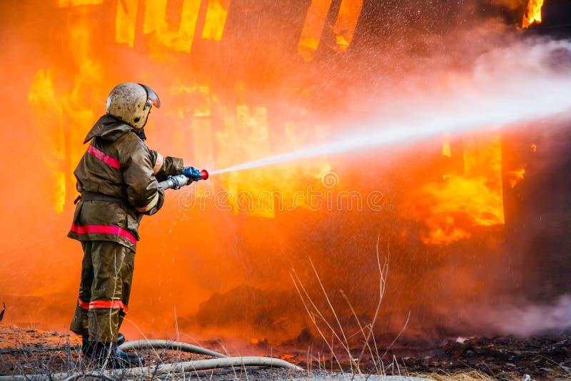 De brandweerman dooft een brand stock foto