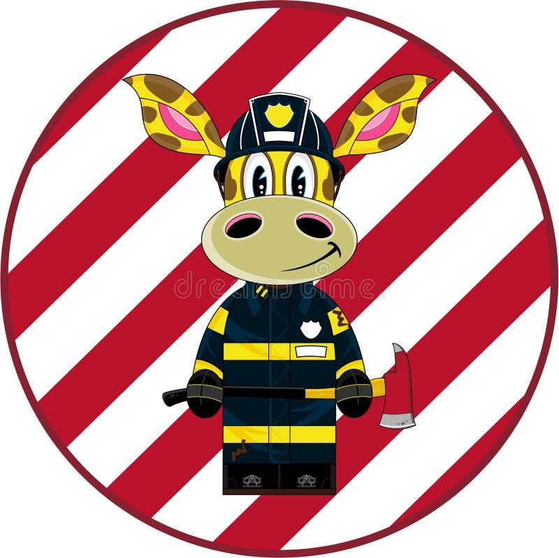 De Brandweerman van de beeldverhaalgiraf vector illustratie