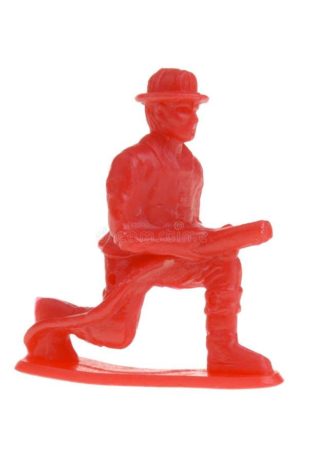 De brandweerman van het stuk speelgoed stock fotografie