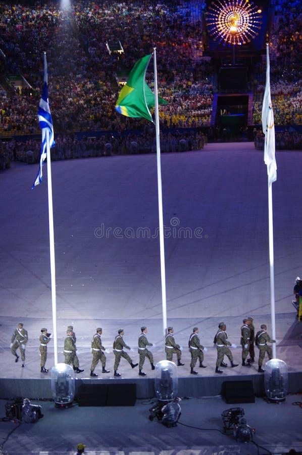De Braziliaanse militaire kracht bij de colsing ceremonies van Rio2016 stock foto